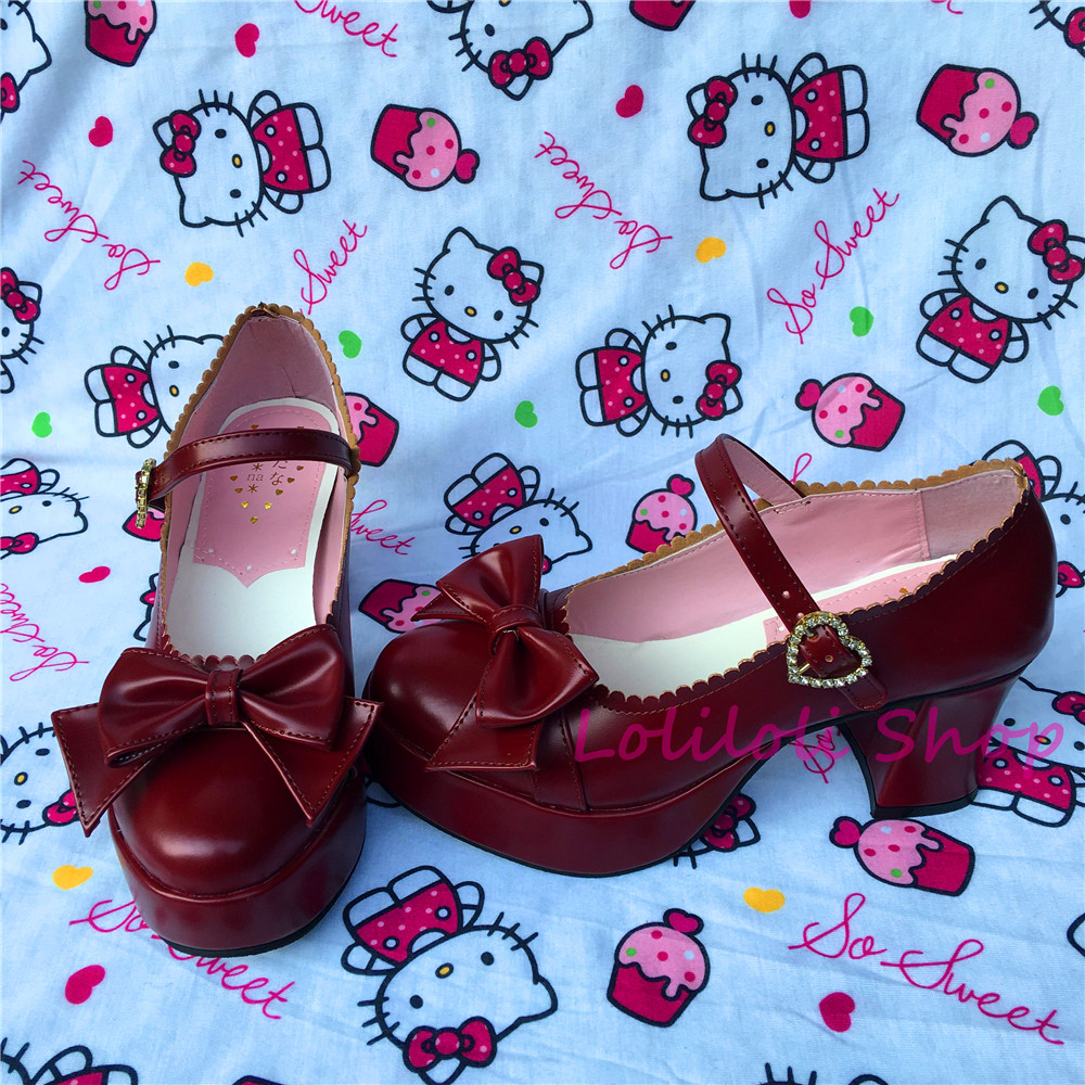 Princess sweet lolita shoes Loliloliyoyo antaina Japanese design cos shoes custom red thick heel round head shoes with bow a519 sweet girl s sandals with bow and velcro design