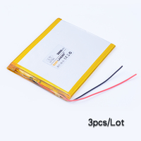3pc Lot 357595 3 7V 3000mAh Polymer Li Ion Battery For Consumer Electronics PDA Tablet PCs