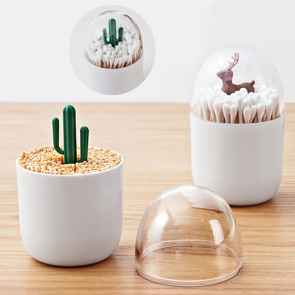 Animal Tree Toothpicks Holder Cotton Swab Box Cotton Bud Holder Case Home Table Decor Beauty Tools Storage Box Organizer