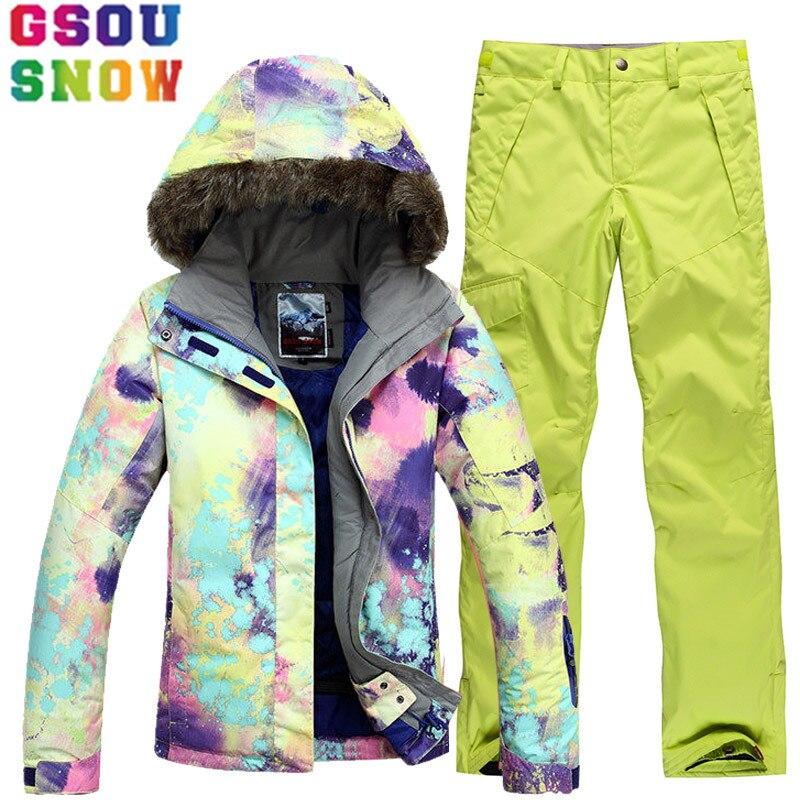 GSOU NEIGE De Ski De Marque Costume Femmes Veste de Ski Snowboard Pantalon Hiver Montagne Ski Costumes Femelle Étanche Pas Cher Sport Vêtements