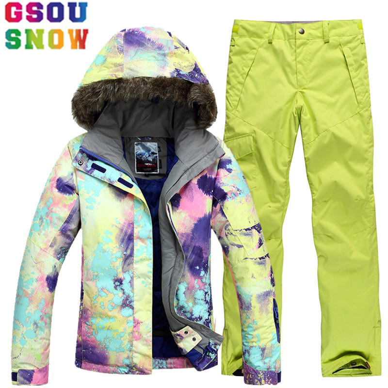 GSOU SNOW Brand Ski Suit Women Ski Jacket Snowboard Pants Winter Mountain Skiing Suits Female Waterproof Cheap Sport Clothing gsou snow waterproof ski jacket women snowboard jacket winter cheap ski suit outdoor skiing snowboarding camping sport clothing
