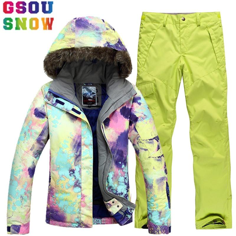 GSOU neige marque Ski costume femmes veste de Ski Snowboard pantalon hiver Ski de montagne costumes femme imperméable pas cher Sport vêtements