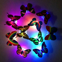Фотография 10 Pieces LED Light Butterfly Wall Sticker Colorful Decals for Home Decor On Wall Fridge Kitchen Room Living Room