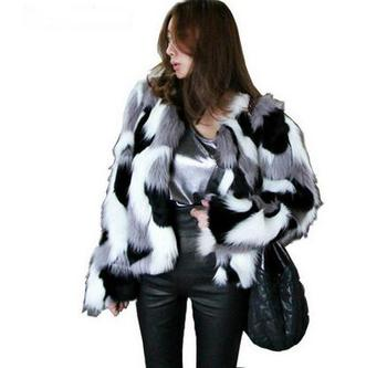 Women Mixed Color Faux Fur Jacket Plus Size