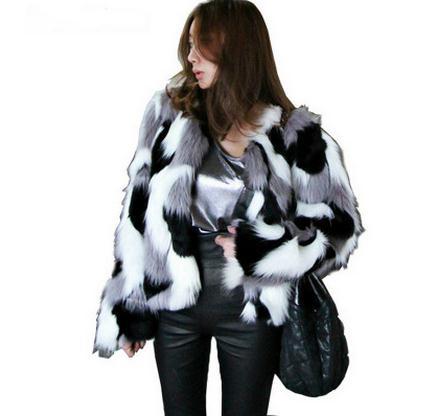 Women Mixed Color Man-Made Fur Jacket Casual Plus Size Faux Fur Coats Female Short Section Fur Outwear Casaco De Pele Falso Ck43