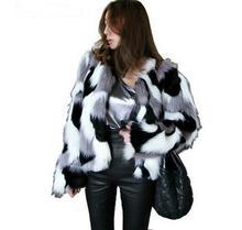 цена на Women Mixed Color Man-Made Fur Jacket Casual Plus Size Faux Fur Coats Female Short Section Fur Outwear Casaco De Pele Falso Ck43