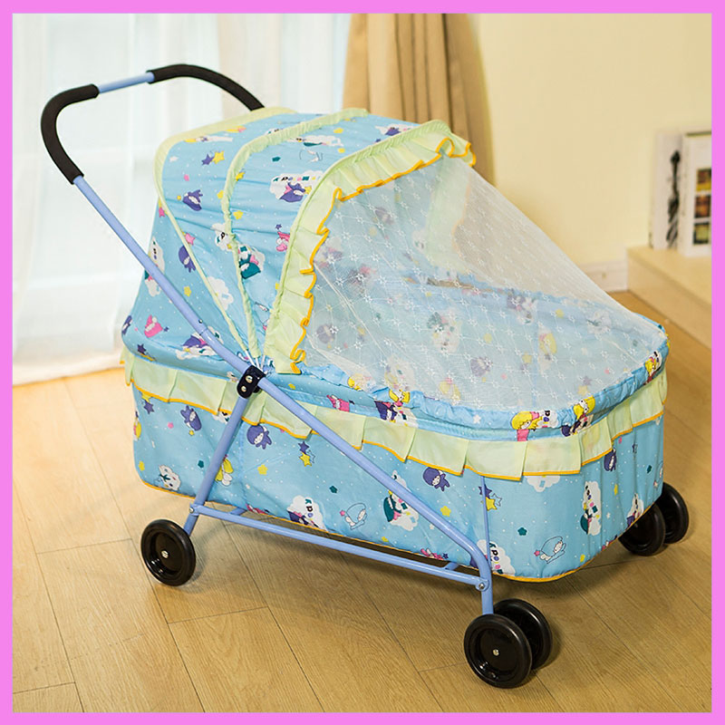 Baby Crib with Roller Hand Push Trolley Cot Baby Bassinet Multi-function Portable Crib Game Bed with Roll Wheel Mosquito Net cute baby crib 4pcs portable comfortable babies pad with sealed mosquito net mattress pillow mesh bag newborn sleep travel bed