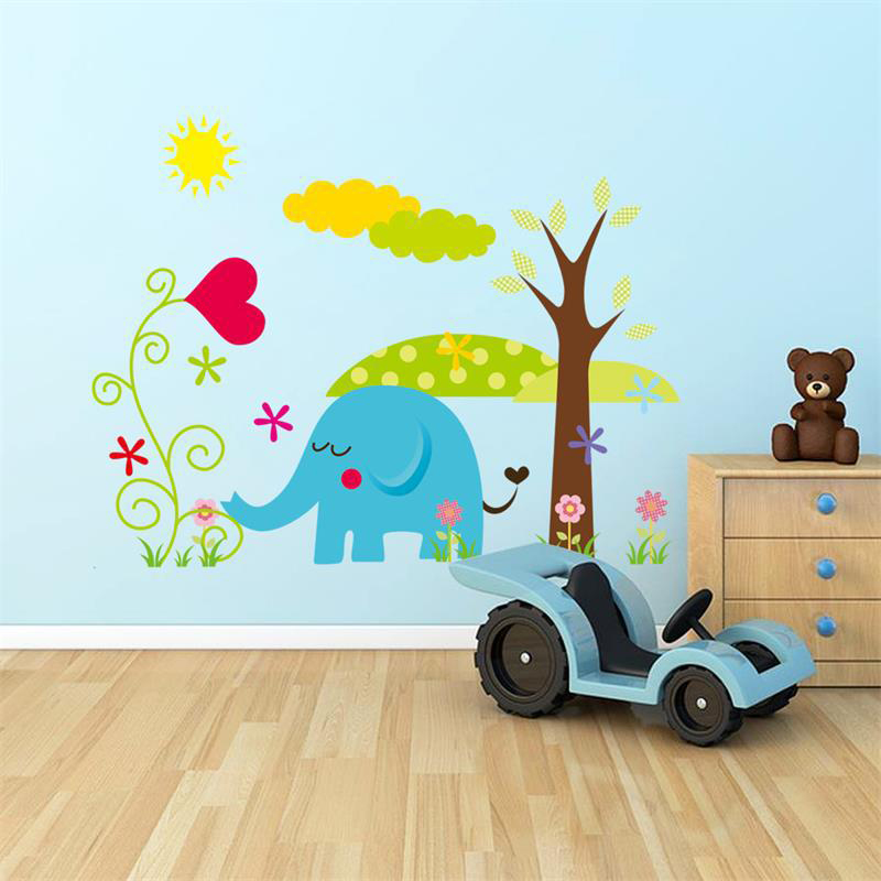 DIY Elephant Tree Animal 3D Wall Sticker For Kids Baby Room Decor Bedroom Decal Home Decoration Mual Art Wallpaper