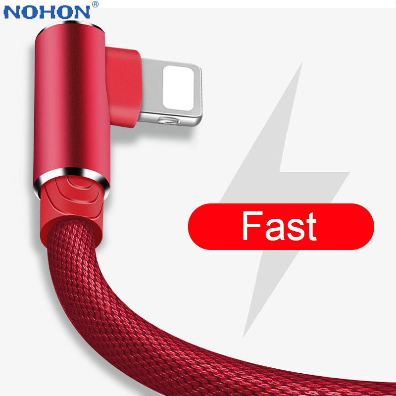 90 Degree Data USB Charger Cable For IPhone 6 S 6S 7 8 Plus 5 5S SE X XR XS Max IPad I Phone Long 1M 2M 3M Fast Charge Wire Cord