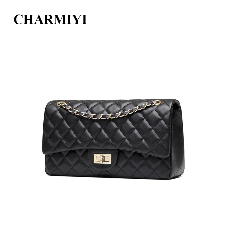 417860fb933 CHARMIYI Women Cowhide Leather Shoulder Bags High Quality Fashion Chain  Strap Crossbody Bag Famous Brand Ladies Messenger Bag