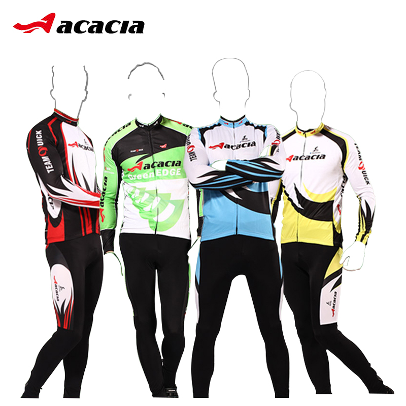 ACACIA Cycling Jersey 2017 pro Team Sets Long Sleeve Breathable Pad Sportswear Mtb Bicycle Bike Clothing Suit Cycling Equipment