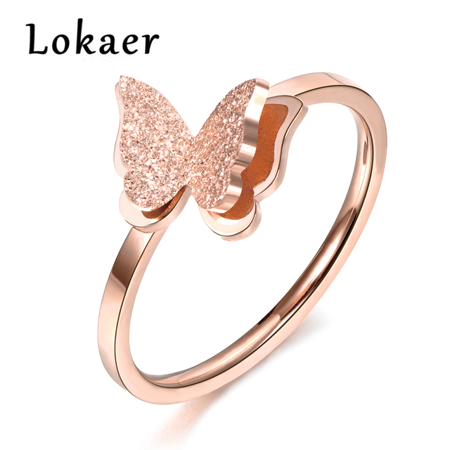Lokaer Scrub 3D Butterfly Wedding Rings Rose Gold Color Top Brand Jewelry Stainless Steel Engagement Ring No Fade
