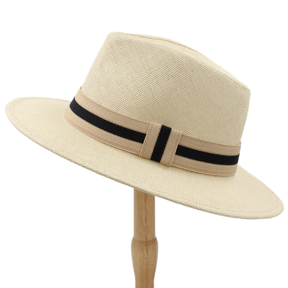Fashion Women Men Straw Sun Hat With Wide Brim Panama Hat For Beach Fedora Jazz Hat Size 56-58CM(China)