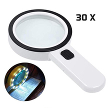 30X Magnifying Glass with Light, Handheld Lighted Magnifier Large Double Lens Led Magnifiers for Seniors Reading