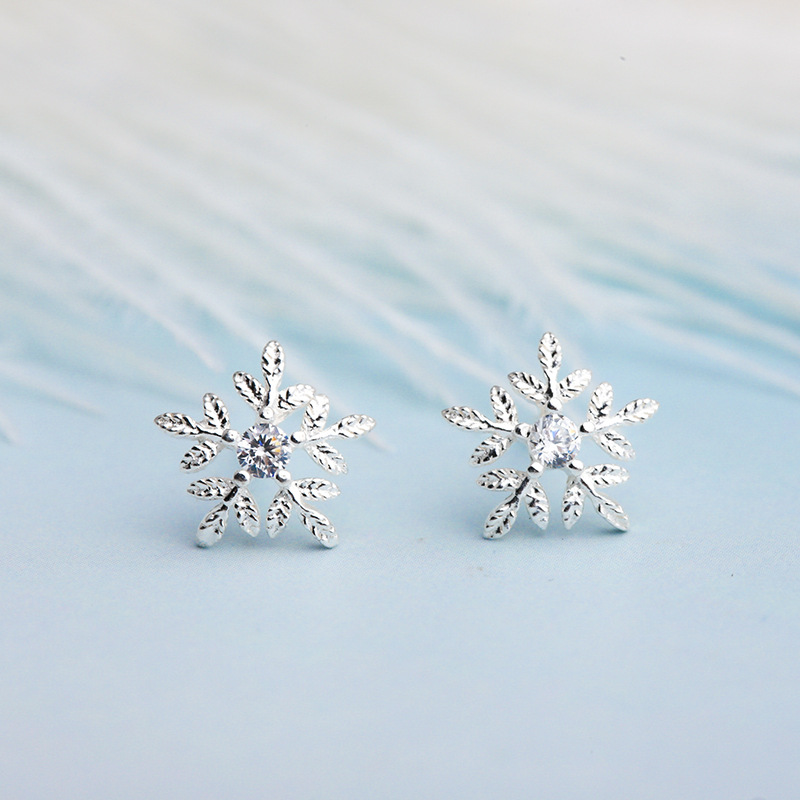 dfc431601 Martick Winter Christmas Snow Stud Earrings Pure 925 Sterling Silver  Brincos Earrings For Woman Fashion Flower