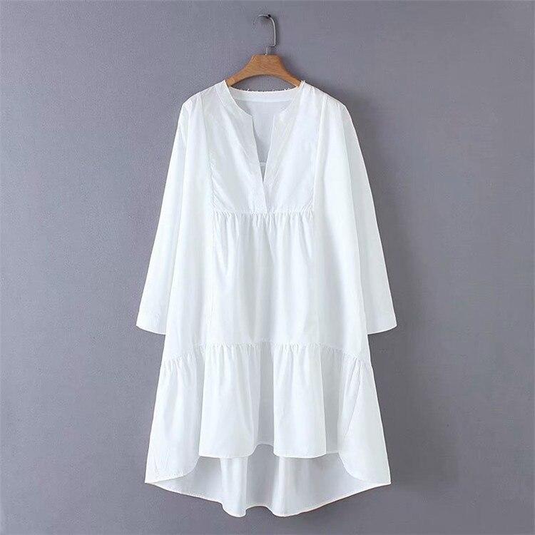 2019 nouvelles femmes mode col en v solide couleur irrégulière ourlet lâche une ligne robe femme douce à manches longues décontracté blanc vestidos