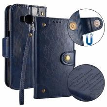 20pcs/lot Free shipping Wax pattern Vintage 5 card phone flip leather cover case for Samsung Galaxy J3 J5 J7 2017 J320 J520 J720