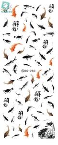 Image 2 - Rocooart DS283 물 전송 포일 네일 아트 스티커 중국어 스타일 잉크 Paiting 물고기 매니큐어 데칼 Minx 네일 장식 도구