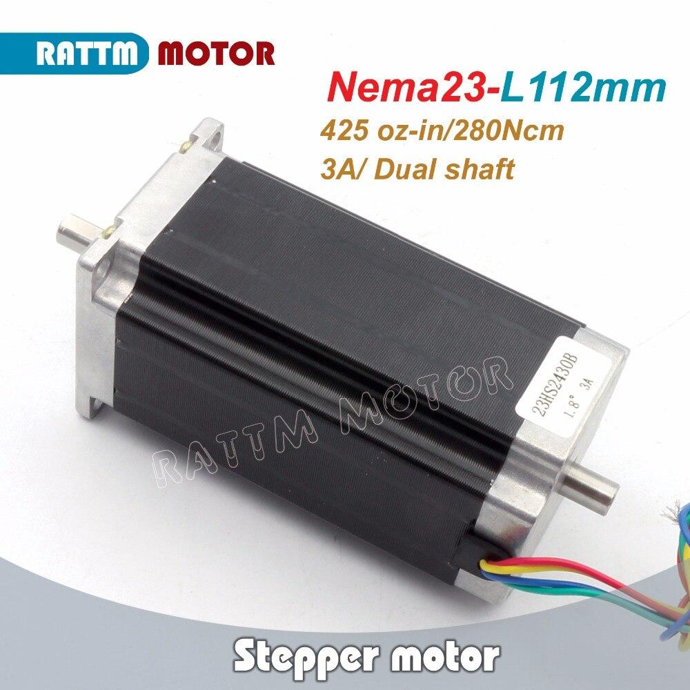 (Dual shaft)Nema23 CNC stepper motor 112mm,425 Oz-in, 3A CNC stepper motor stepping motor RATTM MOTOR nema23 geared stepping motor ratio 50 1 planetary gear stepper motor l76mm 3a 1 8nm 4leads for cnc router