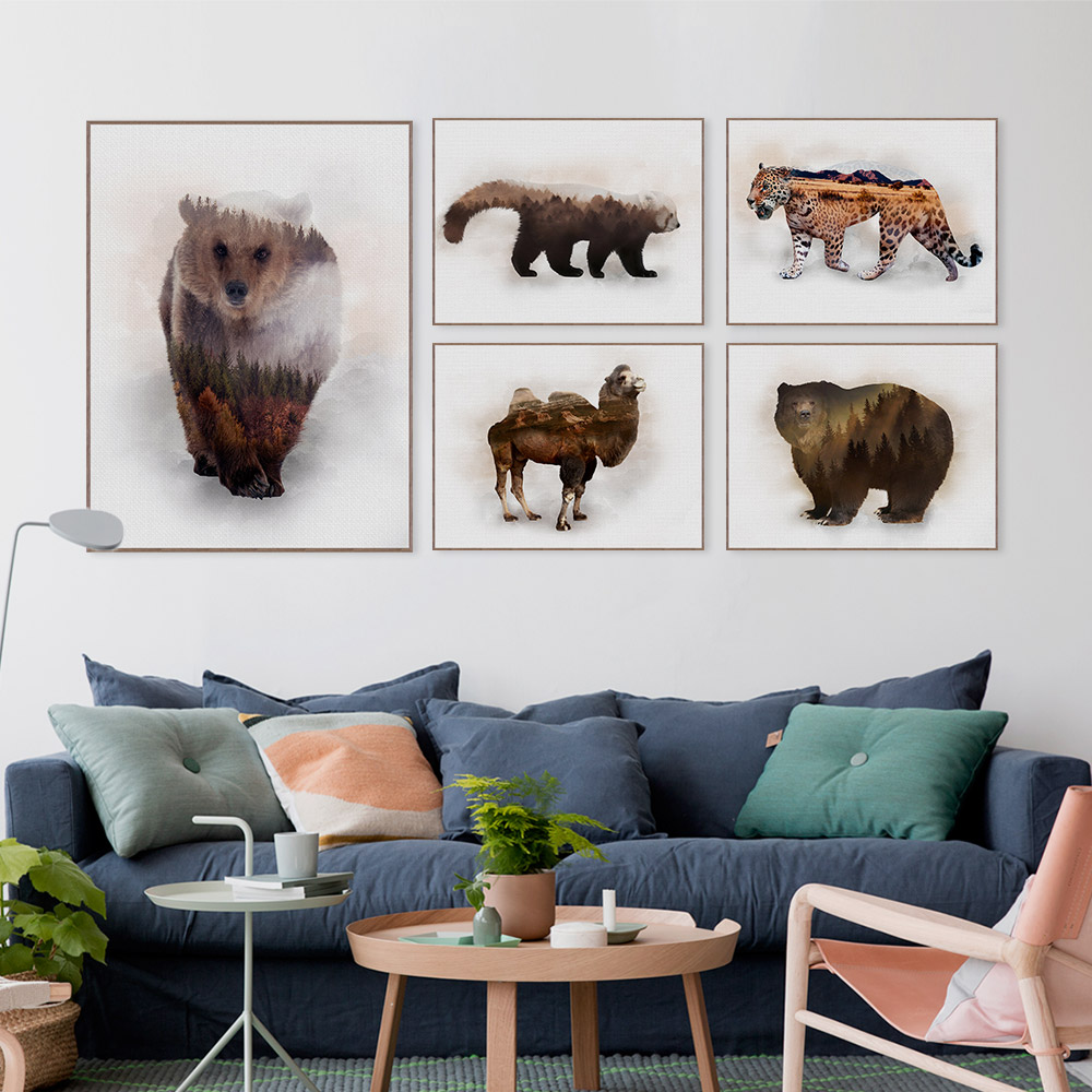 Original Modern Abstract Wild Animals <font><b>Lion</b></font> Deer <font><b>Mountain</b></font> Canvas A4 Art Print Poster Wall Pictures Home Decor Painting No Frame