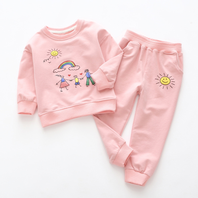 Kids Autumn Clothes Suits 2018 New Style Children Girls Printed Sports Clothes And Long Pants 2Pcs Cloth Sets 3-7Y Baby Clothes sports style owl printed lace up narrow feet long pants for men