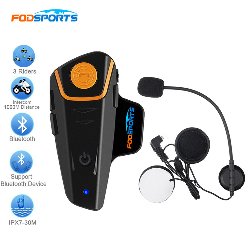 Fodsports BT-S2 Motorcycle Helmet Bluetooth Intercom 2 Riders Talking Interphone Headphone Handfree with FM Radio Max 1000M