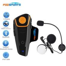 Fodsports BT-S2 Motorcycle Helmet Bluetooth Intercom 2 Riders Talking Interphone Headphone Handfree with FM Radio Max 1000M