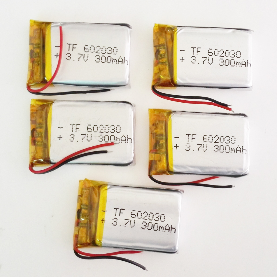 5 pcs 3.7V 300mAh <font><b>602030</b></font> Lithium Polymer LiPo Rechargeable Battery For Mp3 PAD DVD E-books bluetooth headset Camera 6*20*30mm image