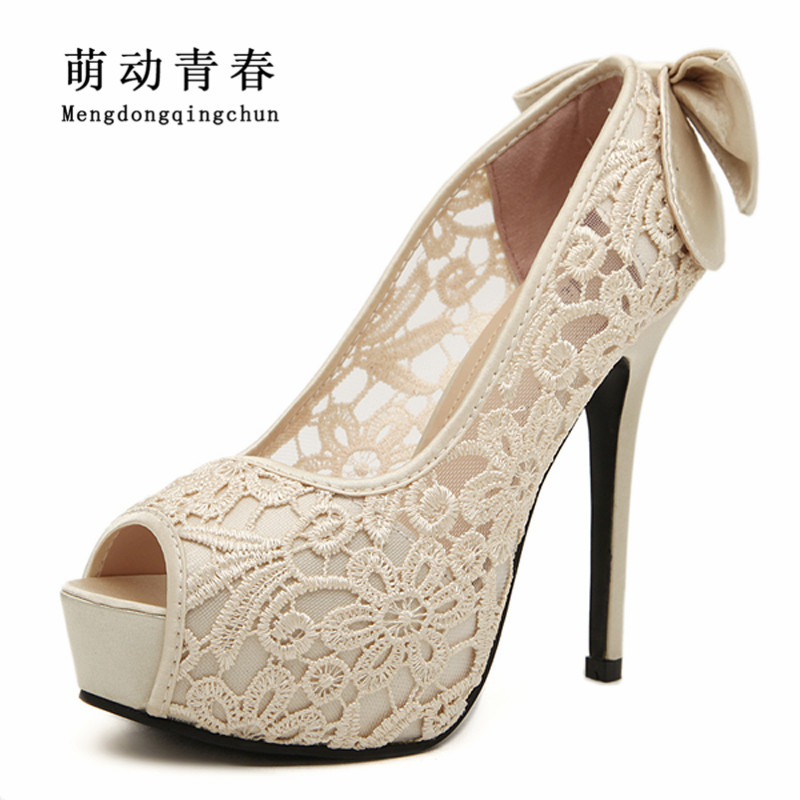 2015 Women Wedding Shoes Sexy Lace Peep Toe High Heels Platform Pumps Summer Dress Pumps Womens Sweet Bow Bridal Shoes 2018 new women platform pumps sandals black mesh lace high heels peep toe shoes coarse heels woman wedding dress pumps