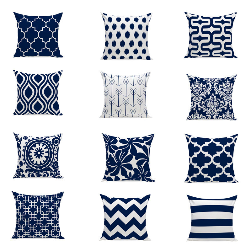 Navy Blue Decorative Cushion Cover Home Decor Velvet