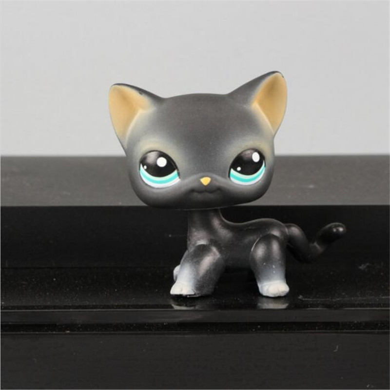 CAT toys Pet Shop Animal Cyan Eyes Black Kitty Figure Doll Child Toy FREE SHIPPING Christmas gifts pet shop toys dachshund 932 bronw sausage dog star pink eyes