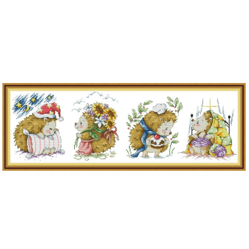 OOTDTY Hedgehog DIY Handmade Needlework Counted 14CT Printed Cross Stitch Embroidery Kit Set Home Decoration