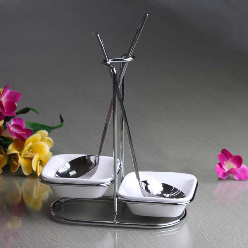 New Stainless Steel spoon rest with Ceramic bowl kitchen shelf storage rack colander spoon holder drainer