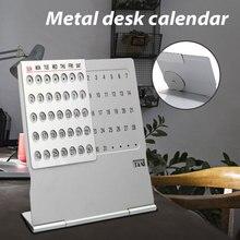 Aluminum Mini Ultra-thin Metal Desktop Calendar Super Perpetual Unique 100 Years English Table Calendars
