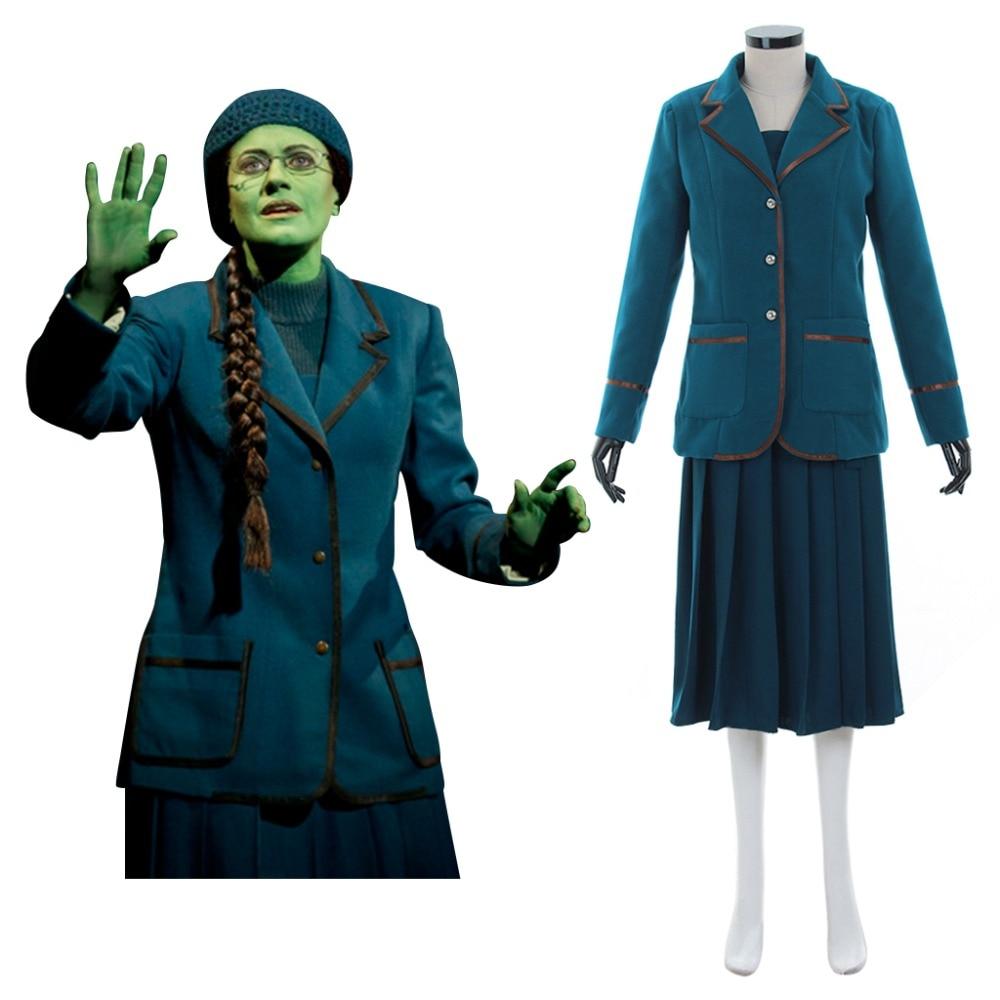 Custom Made Popular Music Drama Wicked Elphaba Cosplay Costume Adult Women Fancy Party Halloween Winter Dress Coat Costume