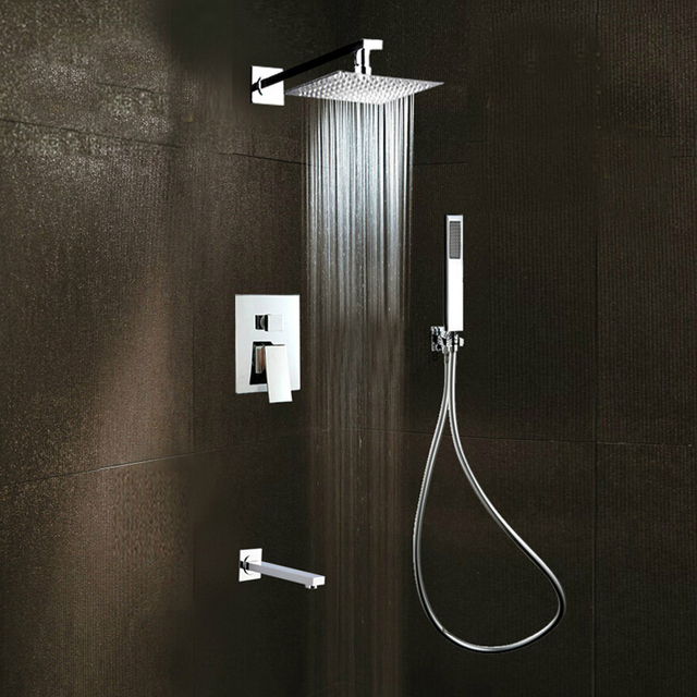 Square Rain Shower Head Faucet 3 Ways Valve Mixer Tap Tub Spout Hand Shower