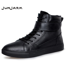 JUNJARM 100% Genuine Leather Men Boots Winter Warm Velvet Ankle Snow Boots Men Shoes Fashion Cow Motorcycle Casual Boots 36-48