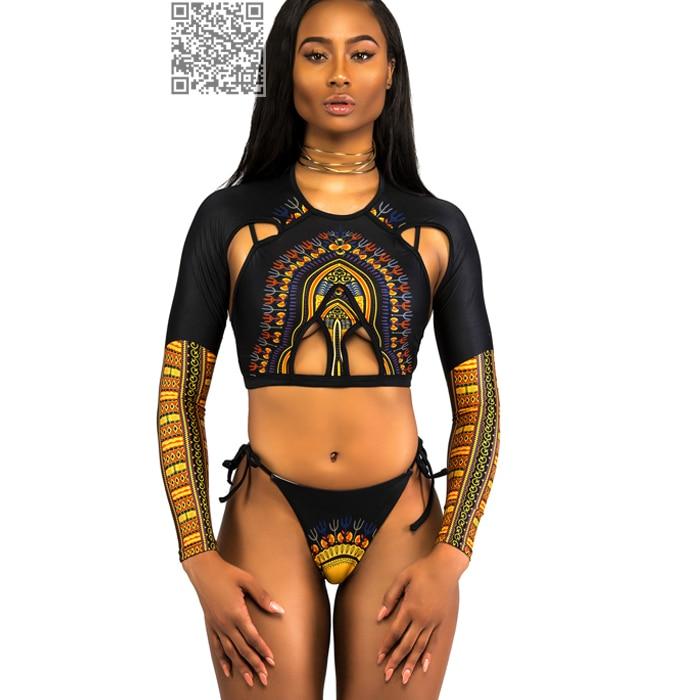 Bikini brasileño étnico africano Bikini de cintura alta Bikini de manga larga Traje de baño Vintage Traje de baño de las mujeres Traje de baño atractivo Traje de baño