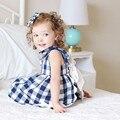 Bebé recién nacido Ropa de La Muchacha 2016 Nueva Marca Del Verano Del Bebé Traje Azul/Rojo A Cuadros 100% Algodón Bowknot Conjunto Bebé Recién Nacido traje de 1-3 Años