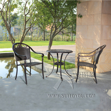 RATTAN BISTRO SET 3 PIECE FURNITURE TABLE AND CHAIRS GARDEN WEATHERPROOF OUTDOOR