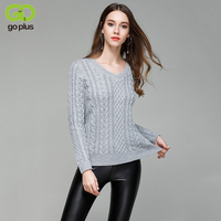 GOPLUS White Cable Knit Sweaters Women V Neck Long Sleeves Knitting Pullovers Warm Autumn Winter Jumpers C4796