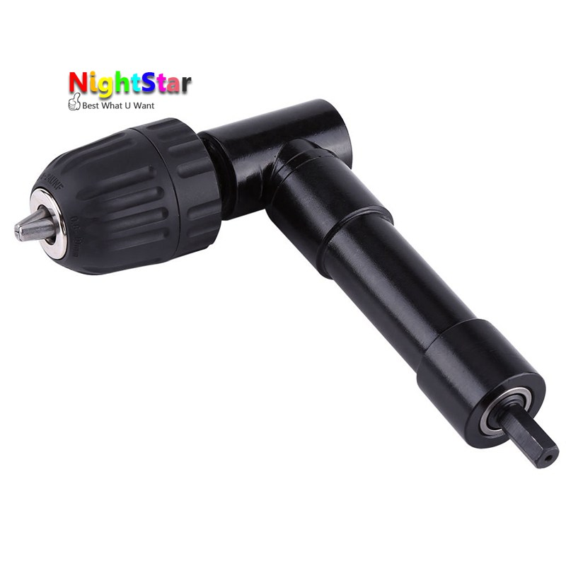 цена на 90 Degree Right Angle Keyless Chuck Impact Drill Adapter Electric Power Cordless Drill Attachment Angle Adaptor MAX/ 25N*m