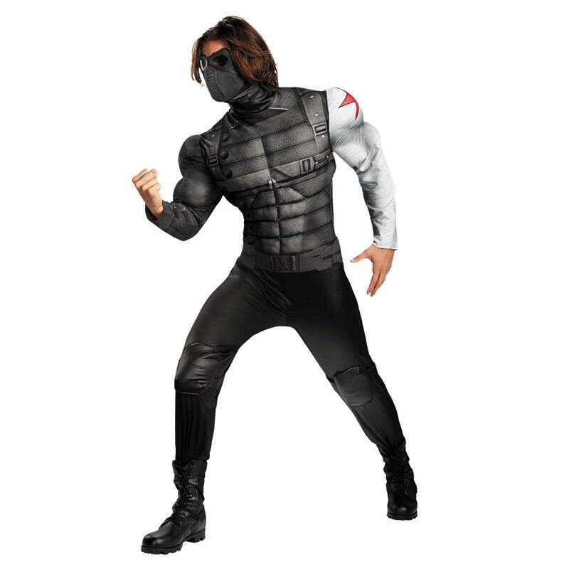 On Sale Adult Men's Muscle Winter Soldier Costume Marvel Avenger Superhero Fantasy Movie Fancy Dress Cosplay Clothing original factory big sale child muscle thor movie avergers superhero costume