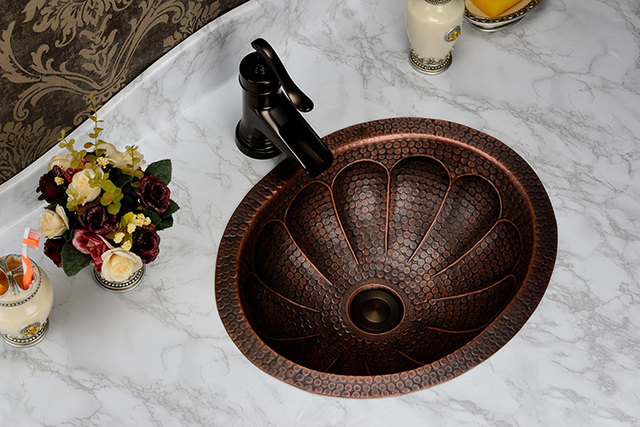 Free Shipping Fashion Wash Basin, Antique Cooper Brass Basin, Handmade Copper  Sink,Copper