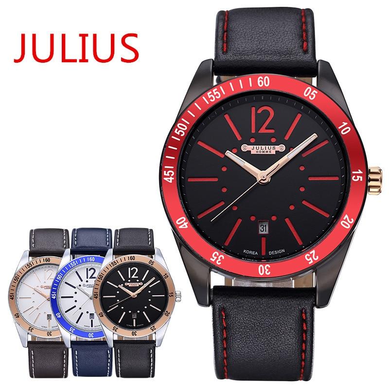 2015 Top New Julius Homme Men s Wrist Watch Quartz Hours Fashion Dress Leather Boy Student