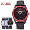 2015 Top New Julius Homme Men's Wrist Watch Quartz Hours Fashion Dress Leather Boy Student Birthday Christmas Valentine Gift 080