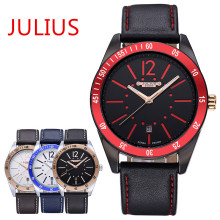 2015 Top New Julius Homme Men's Wrist Watch Quartz Hours Fashion Dress Leather Boy Student Birthday Christmas Valentine Gift 080