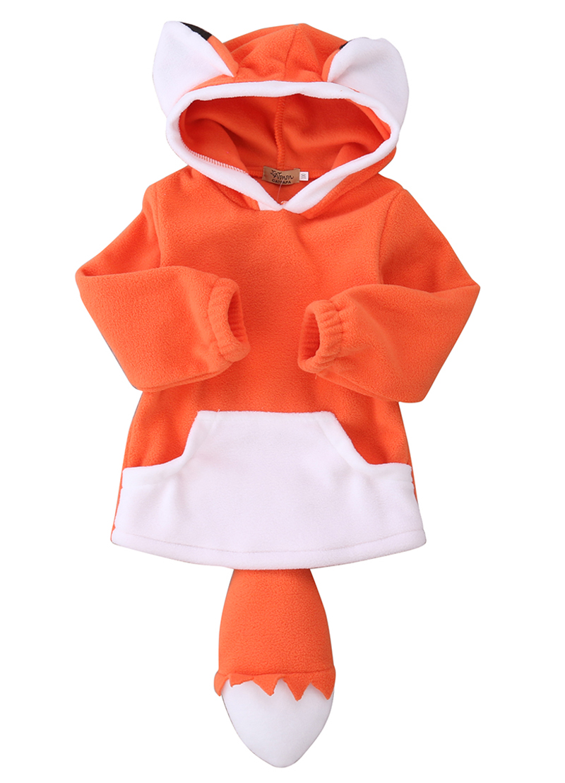 Cute Toddler Kids Baby Boys Girls Winter Fox Wolf Outerwear Hooded Coats Jacket