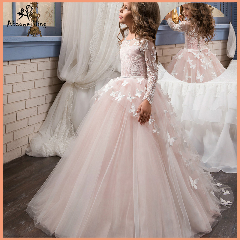 Fancy Flower Baby Girl Dress Child Long Sleeves Butterfly Pink Mesh Ball Gowns Kids Holy Communion