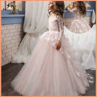 Детское платье с длинным рукавом и бабочкой, розовое Сетчатое бальное платье с цветами, для причастия, для девочек, для детей, для детей, для ...
